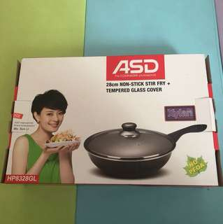 28cm NON-STICK STIR FRY pan + tempered glass cover