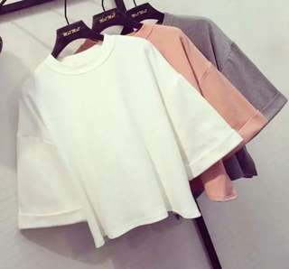 Korean Style white top with 3/4 sleeve