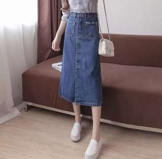 Korean style Denim Midi Skirt