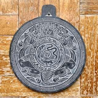 Buddhist Mani Slate Stone 19cm x 19cm