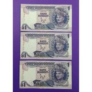 JanJun $1 6th UNC 3pcs Siri 6 Jaffar 1986 RM1 Wang Duit Lama