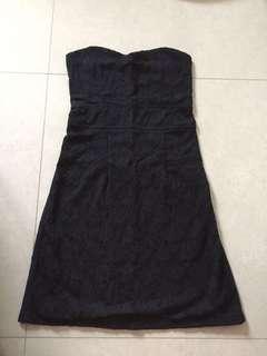 Navy black lace Tube Dress