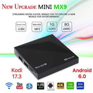 【Stock Clearance Sale While Stock Last】 MINI MX9 RK3229 Smart Android 6.0 Latest Kodi Quad Core TV BOX HEVC WiFi DLNA 4K Media U7G1