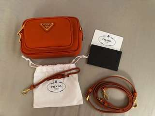 Authentic Prada 1N1862 Tessuto in Papaya
