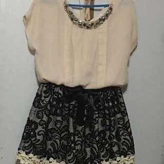 Chiffon blouse and lace skirt 2pc set