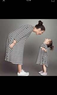 Mummy&me striped long sleeves dress (set of 2)