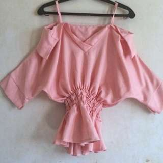 Pink Pastel Off shoulder S-M