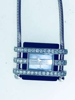 Van Cleef & Arpels White Gold Diamond Pendant Watch Necklace