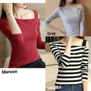 zz5009 One shoulder cut out tee