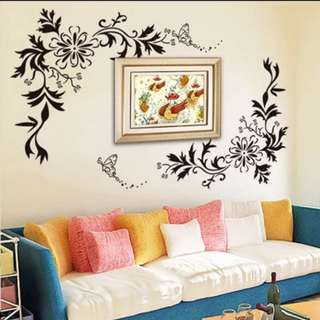 💥( 2 set $26 ) Fashion DIY Flower Rattan Butterfly living room TV background wall bedroom romantic warm decoration self-adhesive wall stickers /Home 🔘 Size W160*H100cm