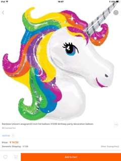 Unicorn head helium balloon 47inch