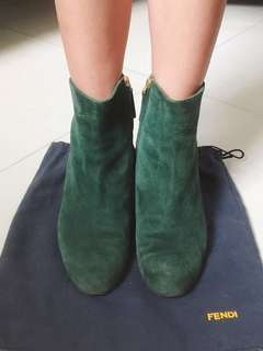 Fendi Modern Green Suede Leather Boots