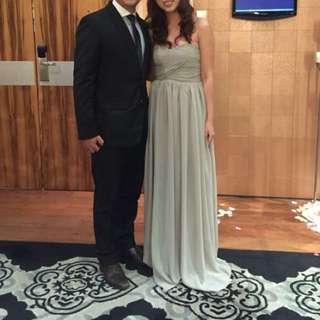 Parsealed Grey Long Dress