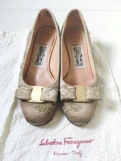 Salvatore Ferragamo Gold Lace Medium Heels