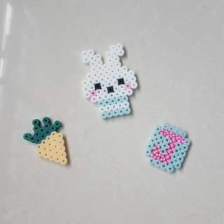Easter Bunny Set (Wooden Pegs/ Magnets)