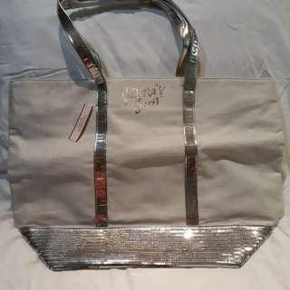Victoria's Secret white and silver bag
