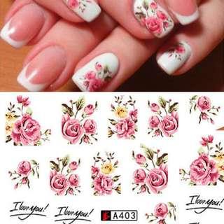 1 Sheets 2017  DIY Designer Water Transfer Tips Nail Art Pink Rose Flower Sticker Decals Women Beauty Wedding Nails A403