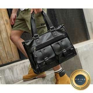 Tas Kulit Pria - Premium Travel Bag Retro Black