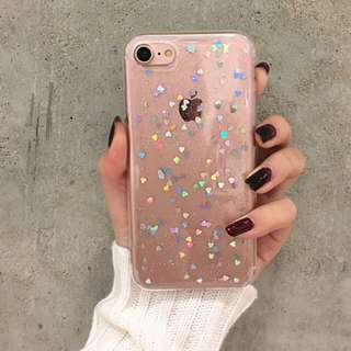 Iphone case Transparent glitter with heart