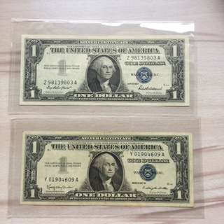 USA 1957 $1 Silver Certificate notes (2 pc lot)