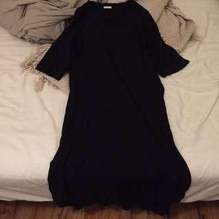 GU黑色長版設計感洋裝
