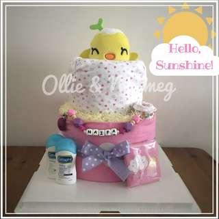 Customised Baby Shower Diaper Cake Gift Hamper