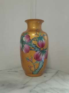 Old porcelain yellow glazed porcelain vase height 38cm perfect condition