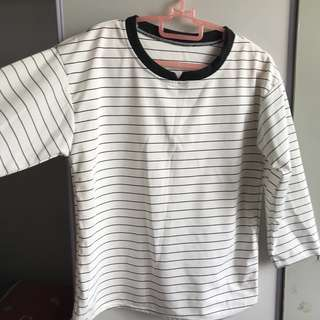 korean striped top black and white
