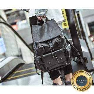 Tas Kulit Pria - Backpack Leather Retro Black