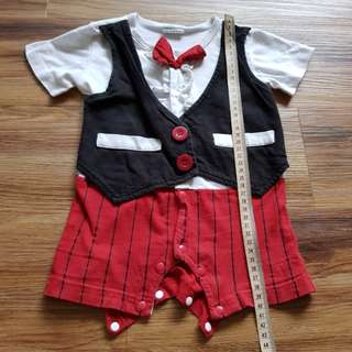 Bless Tuxedo suit onesie with bow (3-6 months)
