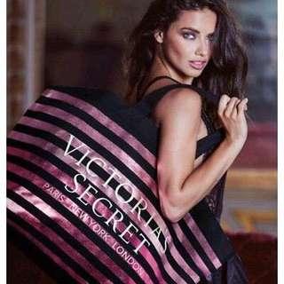Victoria's Secret Pink Metallic Ombre Striped Tote Weekender Bag