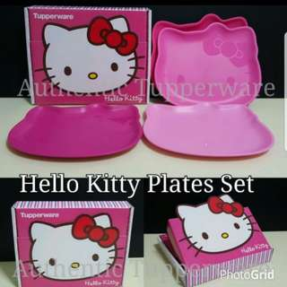 Authentic Tupperware - Ready stock  Hello Kitty Plates Set (4) 23.5cm (L) × 20.1cm (W) × 1.6cm (H) Gift Box  Retail Price S$34.00 Or 1 For $8.50/Pc Plate kitty pc
