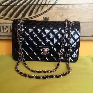 25 cm Chanel in patent leather double classic flap 1:1