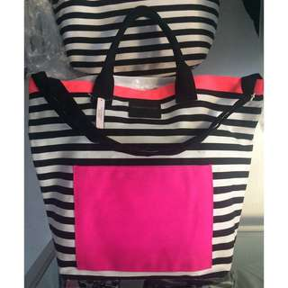 Victoria's Secret  Limited Edition 2016  Super Huge Beach Striped  Pink Black White Tote Bag