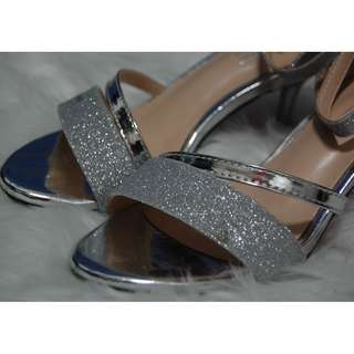 Silver Stiletto High Heel Ankle Strap