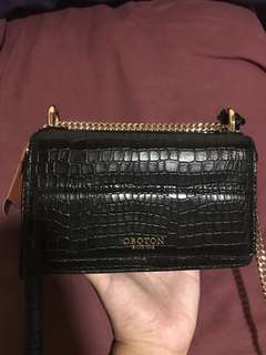 Oroton black croc leather crossbody bag