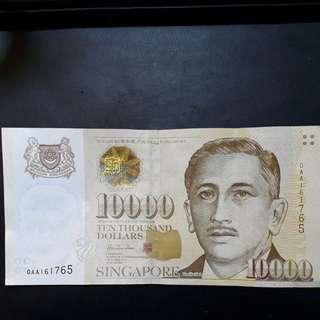 Authentic SGD 10000 (Ten thousand) Note AA Prefix