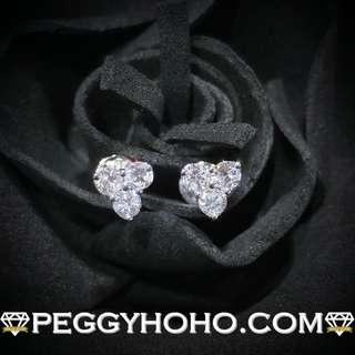 【Peggyhoho】全新18K白金51份超白超閃鑽石耳環 白金系列 3角造型 大睇靚石