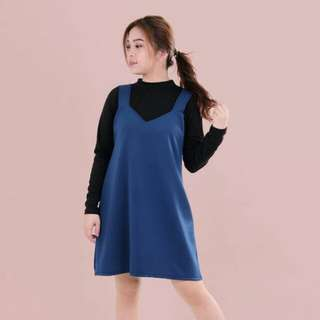 htp blue neoprene pinafore dress