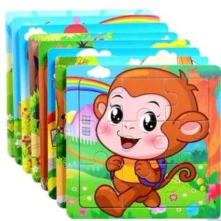 Cartoon Animals Puzzle Jigsaw Baby Kids Training Education Toy