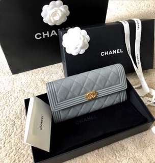 CHANEL Boy Long Wallet in Caviar