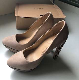 Zara Basic Nude Shoes with Emboridery at the Heel