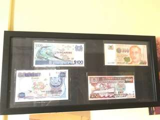 Old Singapore Currency $100 x 4PCS in Different Design