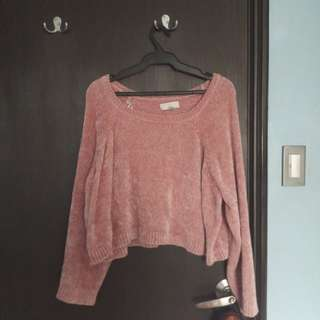 F21 Pink Fuzzy Sweater