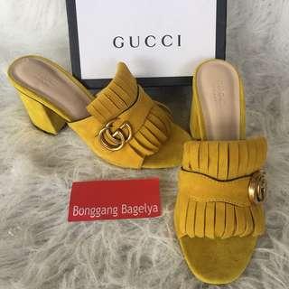 Gucci Yellow Marmont Kiltie Suede Block Heel Mules