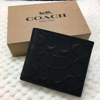🇺🇸#美國直送# Coach Mens Black Bi-fold Wallet 男裝經典款短銀包