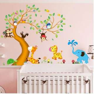 2 in 1 Large Size Cartoon animal tree wall stickers kindergarten children's bedroom bedroom living room cute decorative background removable wall stickers Home decor