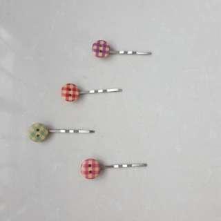 Vintage old school checkered hairpins