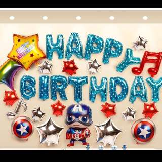 Captain America Boy Birthday Balloon Set