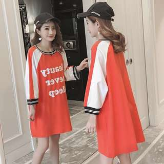 2018 spring and summer large size loose in the long sleeve t-shirt skirt female Korean version of the letter raglan sleeve shirt